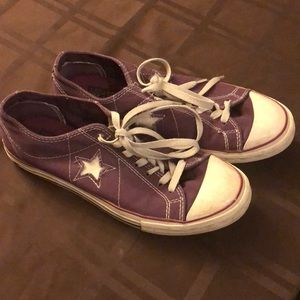 Purple Converse One Star shoes size 10
